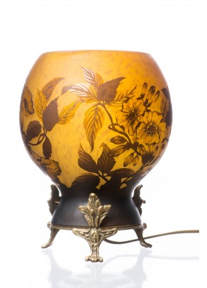 Table Lamp Daum Nancy type - Yellow Gerberas