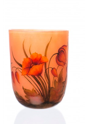 Orange Poppy Vase -Daum Nancy type
