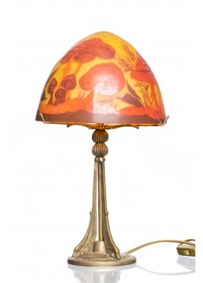 Table lamp galle type mushrooms fantasy handcrafted by Types of table lamps