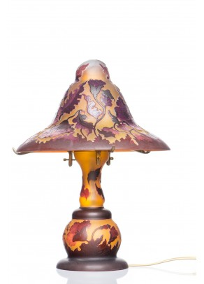 Table Lamp Galle type - Red Poppies Witch Hat
