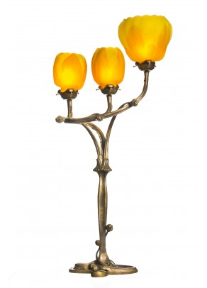 """Trio of Yellow Tulips"" Table Lamp -Galle type"