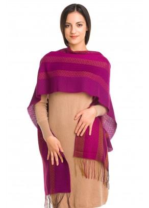 Magenta twilight - Eșarfă fină din baby alpaca și mătase