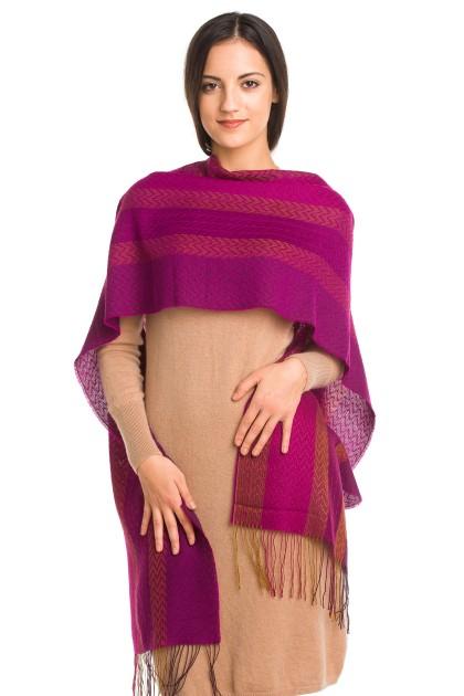 """Magenta twilight"" baby alpaca and silk scarf"