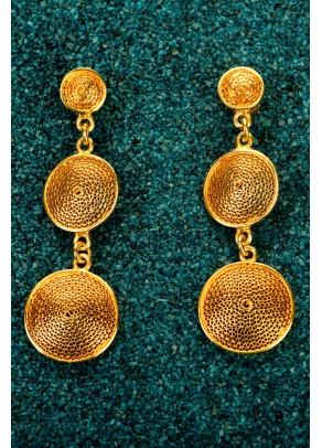 Cercei Tres Botones din filigran de argint placati cu aur