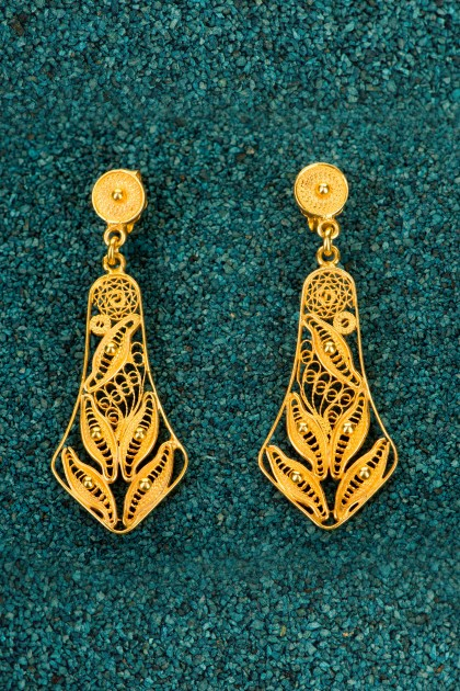 Campanas - Gold Plated Silver Filigree Earrings