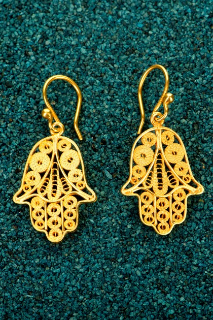 Hamsa - Gold plated silver earrings