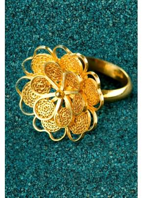 Inel Florecita din filigran de argint placat cu aur
