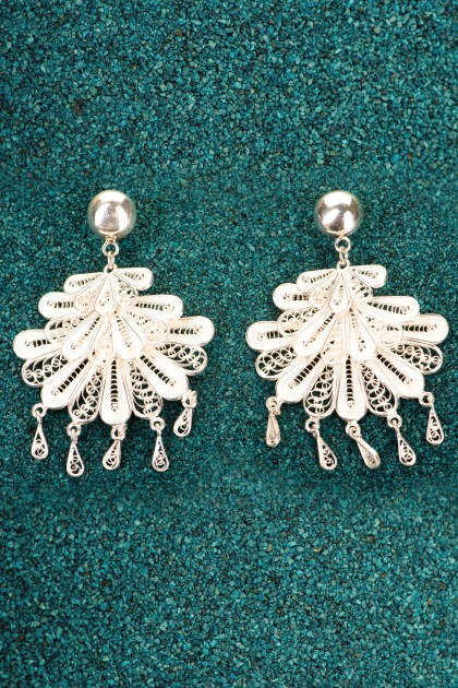 Marinera Dance - Silver filigree earrings