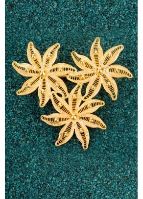 Gold-plated Silver Filigree Brooch - Dalias