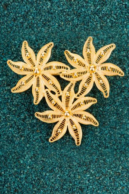 Dalias - Gold plated Silver filigree brooch