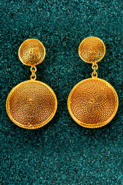 Botones - Gold plated silver filigree earrings