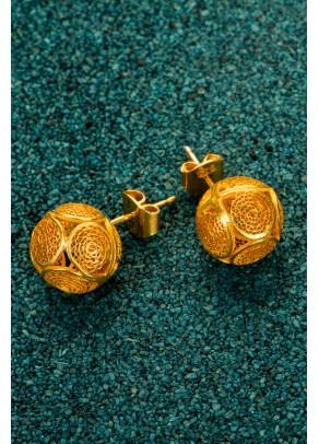 Cercei Esferas din filigran de argint placati cu aur