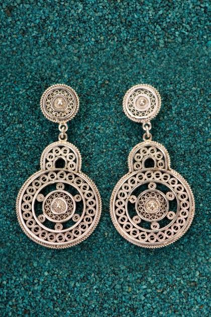 Black Marina - Silver filigree earrings