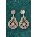Silver Filigree Earrings - Black Marina