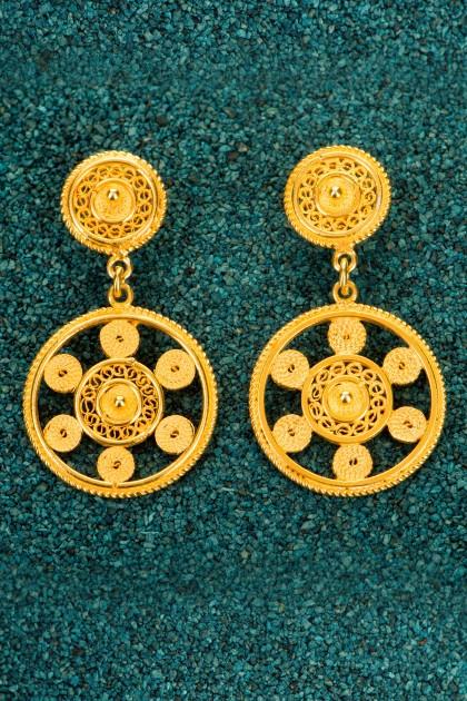 Little Marina - Gold plated silver filigree earrings