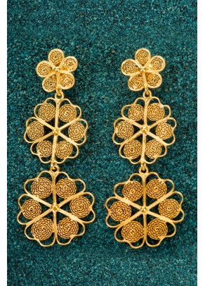 Gold-plated Silver Filigree Earrings - Trio Floral