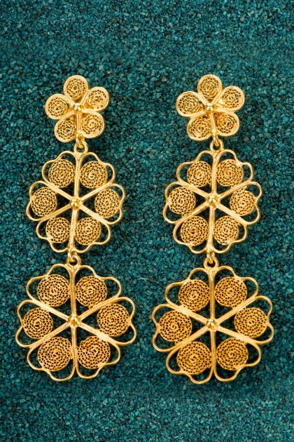 Trio Floral - Gold plated Silver Filigree Earrings