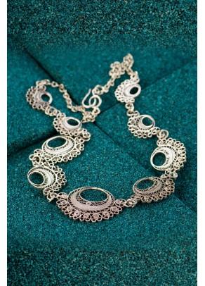 Silver Filigree Necklace - Black Moche