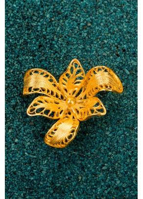 Brosa Orchidea din filigran de argint placat cu aur
