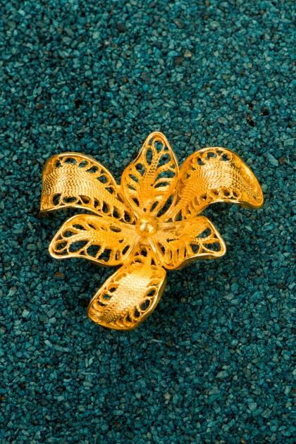 Orchidea - Brosa din argint placat cu aur