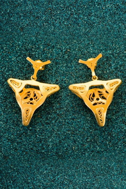 Third Diatom - Gold-plated silver filigree earrings