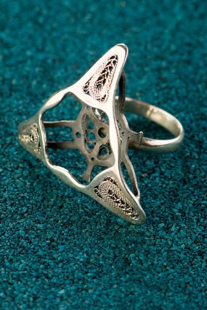 Black Third Diatom - Inel din argint