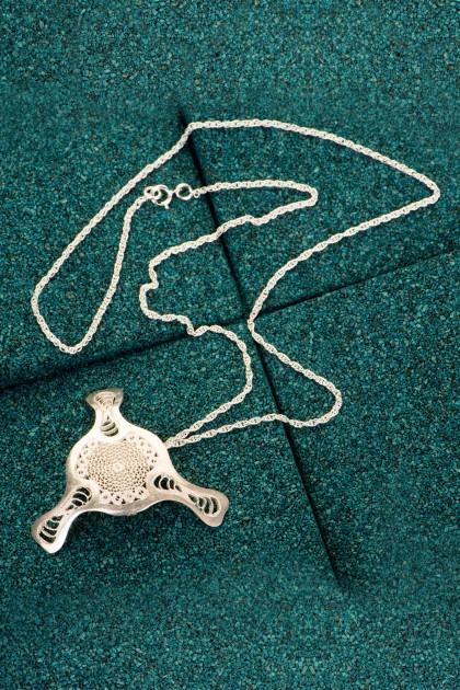 Fourth Diatom - Silver filigree pendant