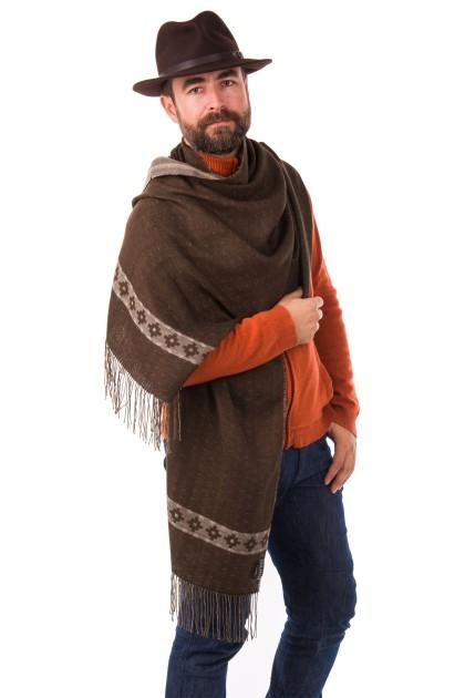 """Inca Cross at Dusk"" baby alpaca and pima cotton double-sided shawl"