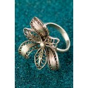 Silver Filigree Ring - Black Peruvian Orchid