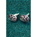 Silver Filigree Black Oval Cufflinks
