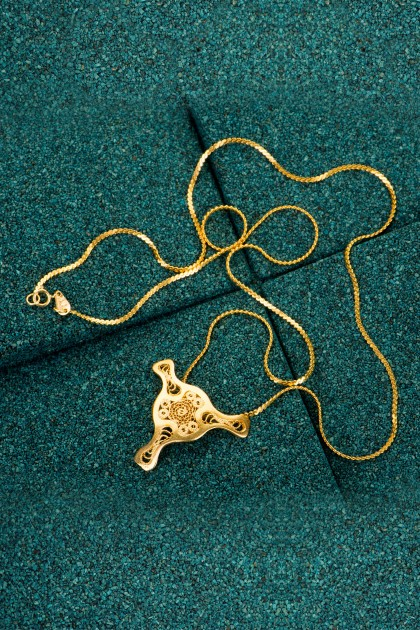 Fourth Diatom - Gold plated silver filigree pendant
