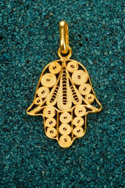 Hamsa - Pandantiv din filigran de argint placat cu aur