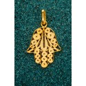Gold-plated Silver Filigree Pendant - Hamsa