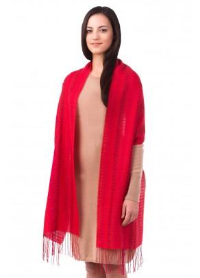 Crimson waves - baby alpaca and silk shawl