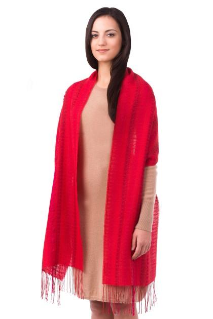 """Crimson waves"" baby alpaca and silk shawl"