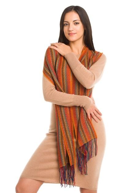 """Desert spring"" baby alpaca and silk scarf"