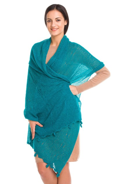 """Ocean embrace"" baby alpaca shawl"
