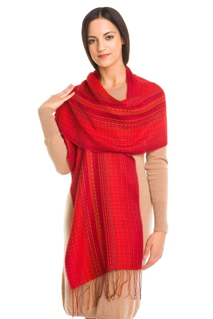 """Rojo real"" baby alpaca and silk scarf"