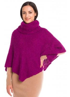 Versatile casual & chic baby alpaca poncho & dress - Magenta