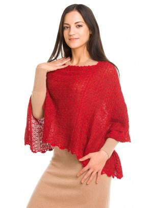 Delicate and sheer red baby alpaca poncho