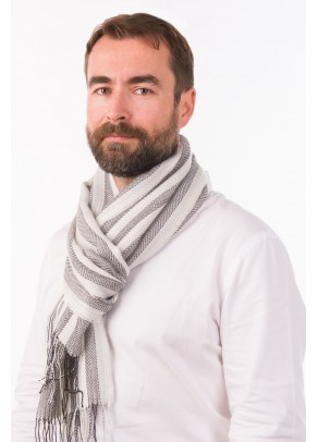 Blanco y negro - baby alpaca and silk scarf