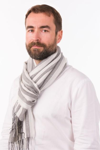 """""""Blanco y negro"""" baby alpaca and silk scarf"""