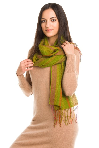 """Unakite"" baby alpaca and silk scarf"