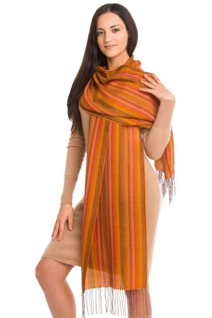 """Thai marble"" baby alpaca and silk scarf"
