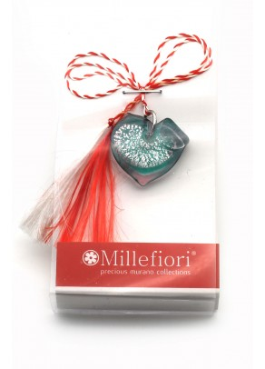 Murano Turquoise Heart March Brooch
