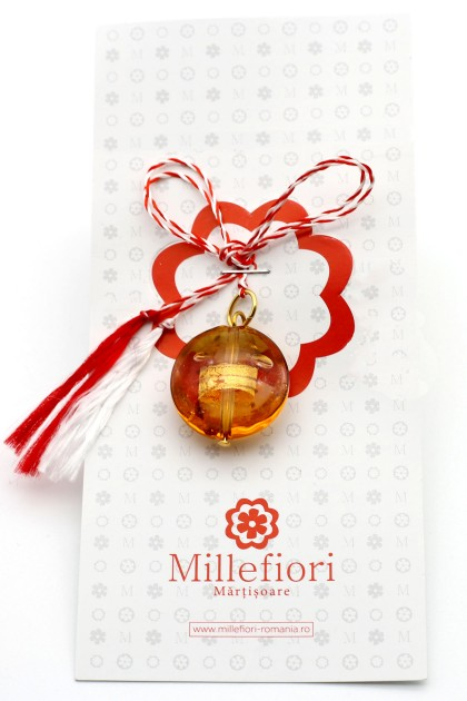 Murano Amber Sphere March Brooch