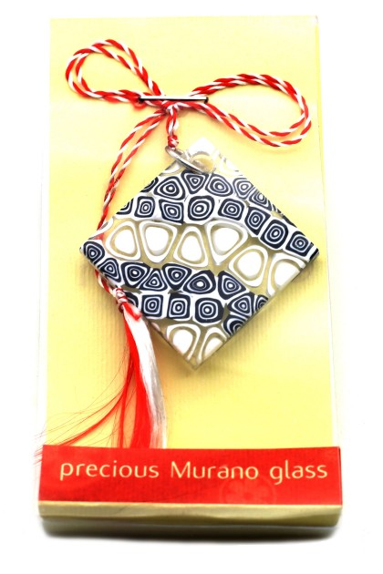 Murano Black & White Mosaic March Brooch