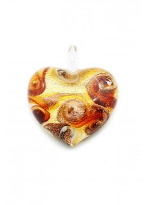 Passione Pandantiv - Red Swirls on Gold