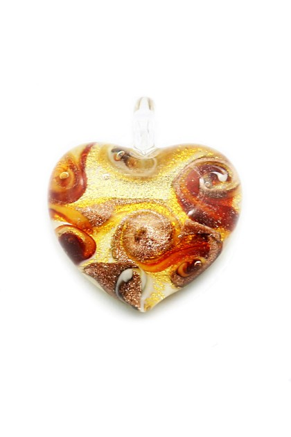 Pendant Passione - Red Swirls on Gold