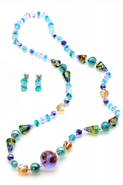 Spring Time necklace and earrings Murano Millefiori Set